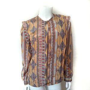 Vintage Sophisticates Pattern Long Sleeve Blouse
